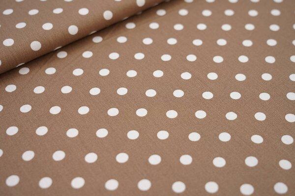 Baumwollstoff Baumwolle hellbraun mit großen weißen Punkten