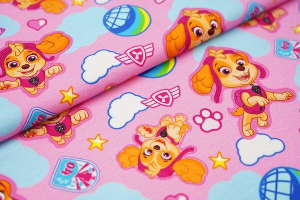 Baumwoll-Jersey Paw Patrol Hunde Mädchen Sky mit Wolken und Sterne auf rosa