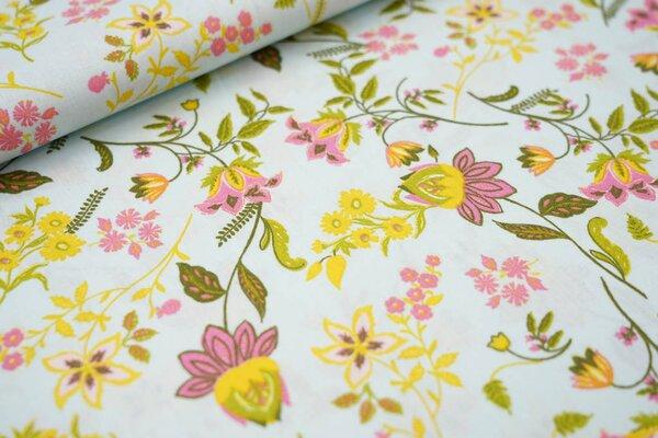 Baumwollstoff mit Blumen auf hellblau mit rosa / grün / gelb
