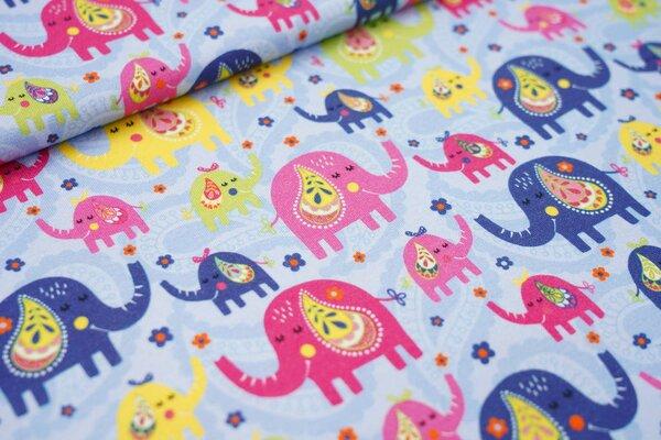 Baumwoll-Jersey bunte Elefanten und Paisley Blumen-Muster auf hellblau