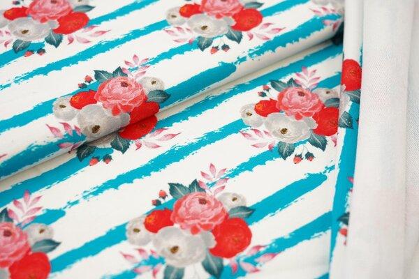 Traumbeere Baumwoll-Sweat Digitaldruck Blumen rot auf Streifen off white / türkis