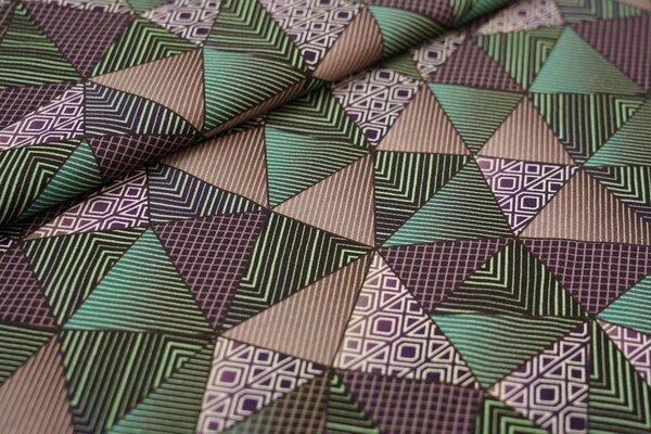Baumwoll-Jersey Retro Dreiecke mit Muster grün / braun / beige / weiß