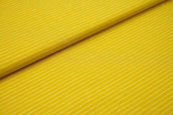 Baumwoll-Jersey zarte weisse gepunktete streifen auf senfgelb