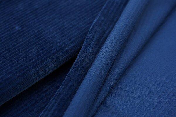 Breitcord Jersey uni indigo taupe blau