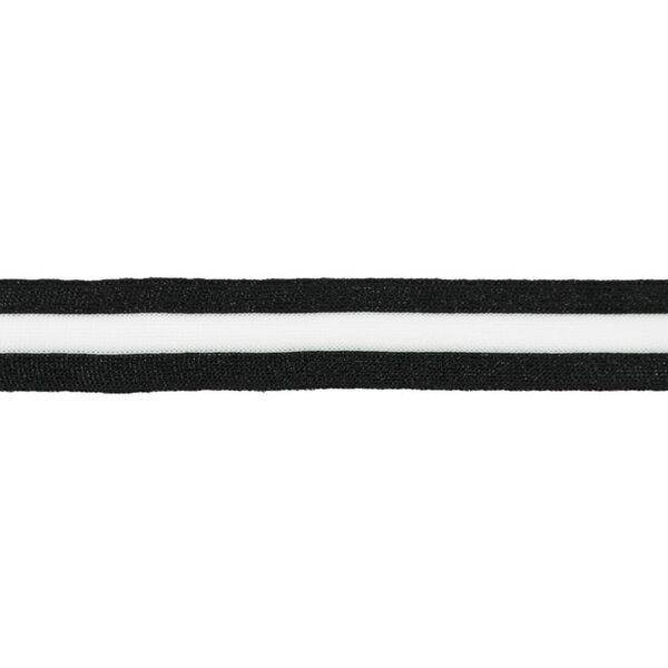 Elastisches Zierband mit Streifen und Glitzer schwarz off white 30 mm