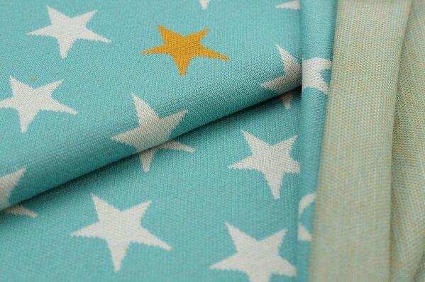 Jacquard-Sweat Ben off white und senf Sterne auf eisblau