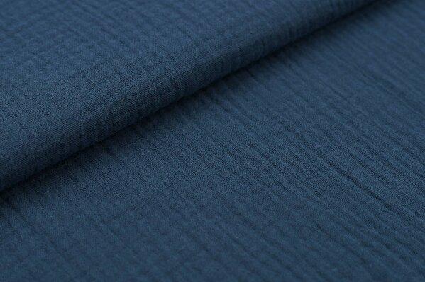 Musselin-Stoff Double Gauze uni taupe blau