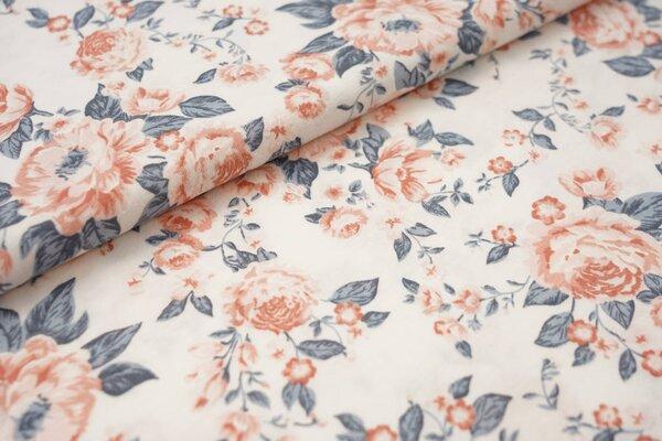 Sommer T-Shirt-Stoff / leichter Jersey Rosen Blumen in koralle lachs und blaugrau auf weiß