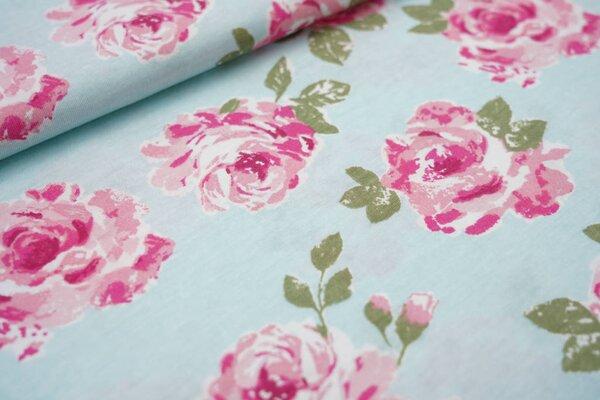 Sommer T-Shirt-Stoff / leichter Jersey große Rosen auf hellblau