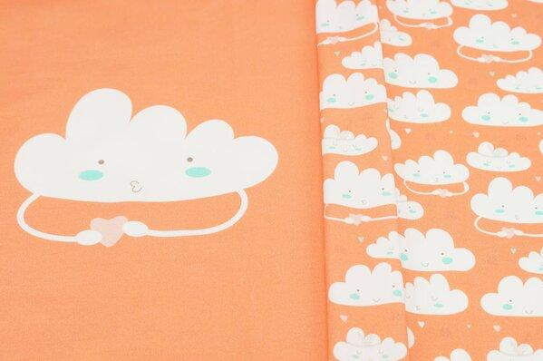 Panel Baumwoll-Jersey Wolken und Herzen koralle orange / off white Digitaldruck