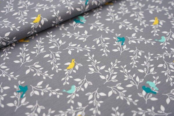 Baumwoll-Jersey Vögel in Zweigen grau / weiß / petrol / mint / gelb