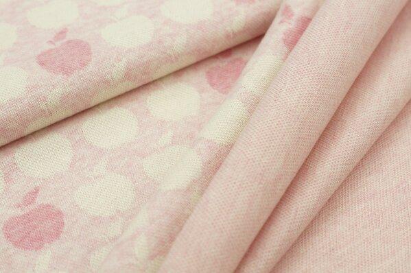Jacquard-Sweat Mia off white und pastell pinke Äpfel auf pastell rosa Melange