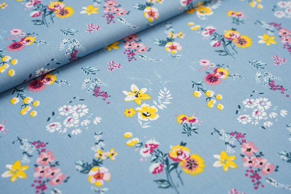 Baumwoll-Stoff mit bunten Blumen auf blaugrau