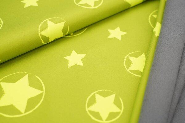 Softshell-Stoff neon Sterne im Kreis gelb grün mit grauer Innenseite
