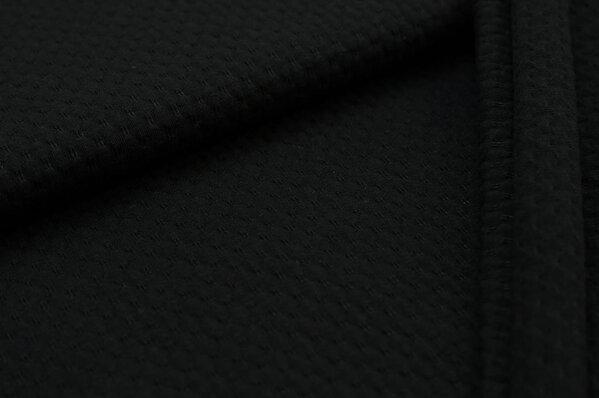Baumwoll-Jersey mit Struktur Waben-Design uni schwarz