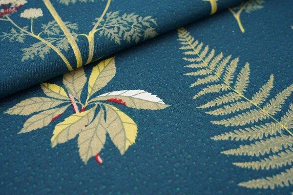 Canvas-Stoff Dekostoff große Blätter Zweige Waldpflanzen Pilze petrol / grün