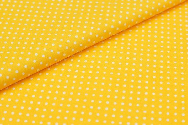 Baumwollstoff Baumwolle kleine Punkte gelb / weiß