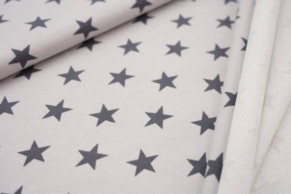 Baumwoll-Sweat große Sterne hellgrau / dunkelgrau