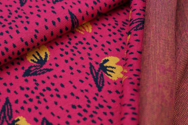 Jacquard-Sweat Ben mit kleinen Blumen und Punkten amarant pink navy blau senf