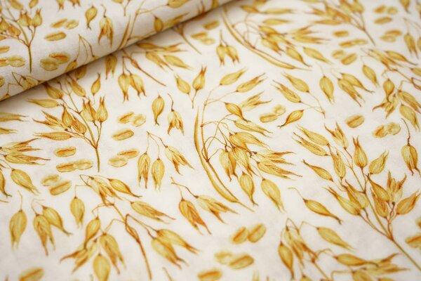 Musselin Stoff Double Gauze Haferzweige Getreide creme weiß / gelb / braun