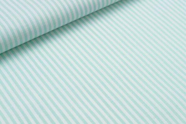 Baumwollstoff Baumwolle Streifen mint / weiß meliert