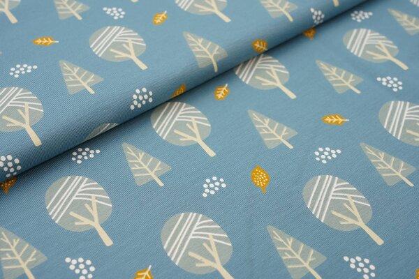 Baumwoll-Jersey Bäume und Blätter altblau