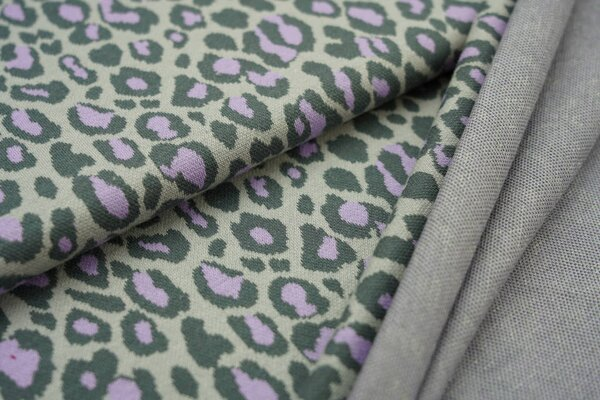 Jacquard-Sweat Ben mit Leoparden Design dunkelgrau / hellgrau / hell lila