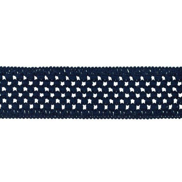 Elastisches Baumwollband in Häkeloptik uni dunkelblau 50 mm