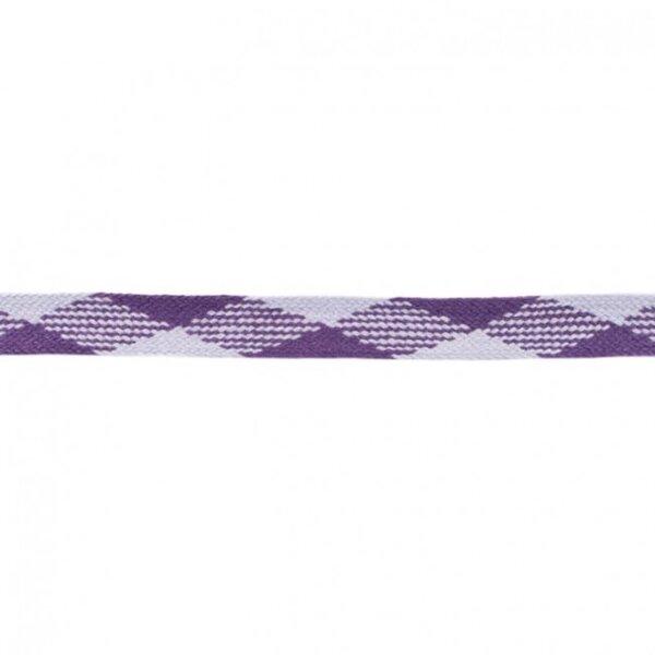 Kordel flach kariert violett / lila 20 mm breit