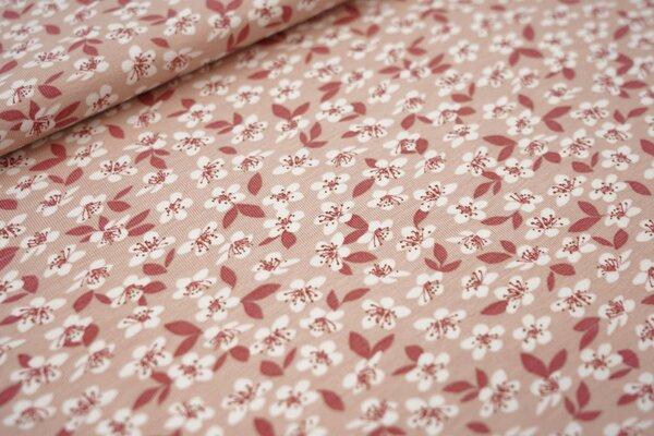 Baumwoll-Jersey Blumen und Blätter pastell rosa meliert altrosa weiß braun