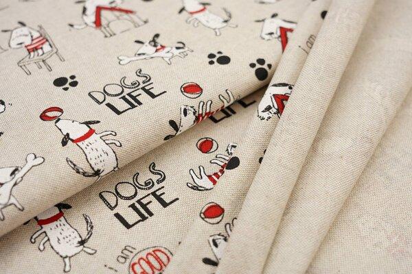 Canvas-Stoff Dekostoff in Leinenoptik Hunde natur / schwarz / weiß / rot