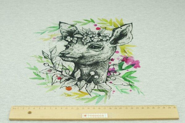 Panel Baumwoll-Sweat Digitaldruck Reh und Blätter auf grau meliert Rapport