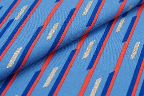 Baumwoll-Jersey Linienmuster Schrägstriche mit Silber Glitzer blau / rot / beige