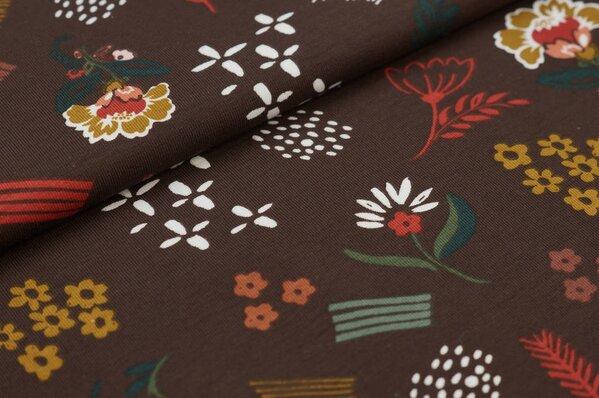 Baumwoll-Jerseystoff Blumen Bätter und Blüten auf braun