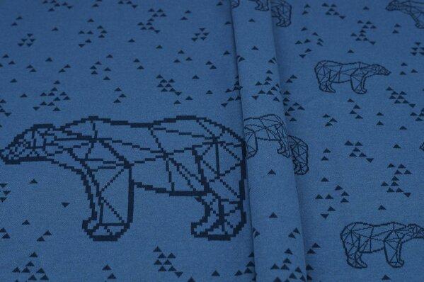 Panel Jacquard-Sweat Ben navy blaue Eisbären und Dreiecke auf taupe blau Rapport