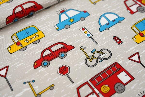 Baumwoll-Jersey Straßenverkehr Fahrzeuge Auto Lkw Fahrrad Roller Ampel auf grau