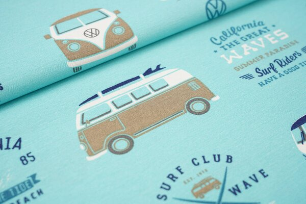 Canvas-Stoff Dekostoff in Leinenoptik VW Bullis Surfbretter Palmen türkis
