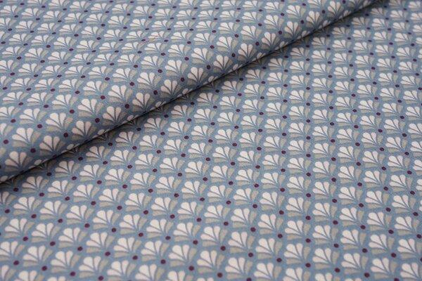 Baumwolle Retro Blumenfächer auf jeansblau