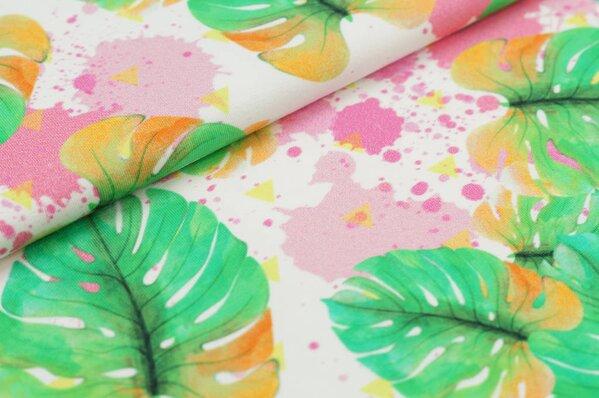 Baumwoll-Jersey Digitaldruck grüne Palmenblätter / Dreiecke auf off white