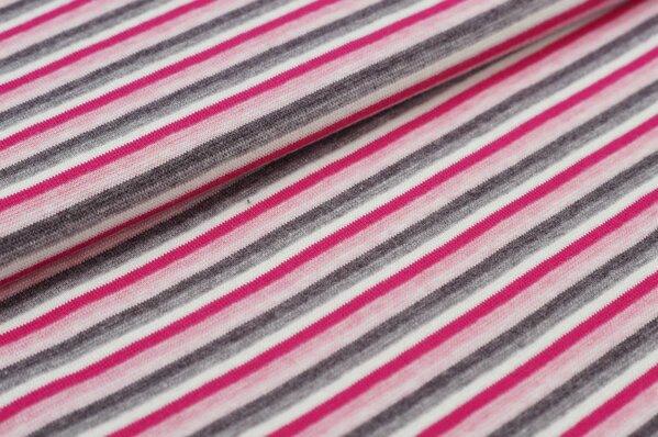 Ringelbündchen pastell Farben Melange bunte Streifen pink / rosa / grau