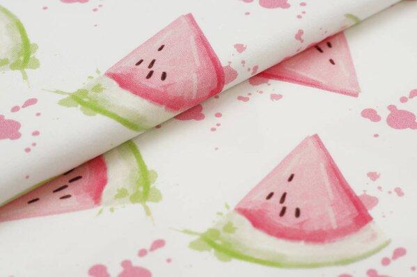 Baumwoll-Jersey Digitaldruck rosa grüne Wassermelonen auf off white