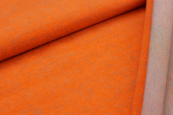 Kuschel Jacquard-Sweat Max Uni orange mit türkis