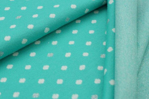 Jacquard-Sweat Ben off white silber Lurex Glitzer Punkte auf mint seegrün