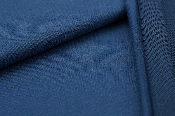 Jacquard-Sweat Ben taupe blau Uni mit taupe blauer und schwarzer Rückseite