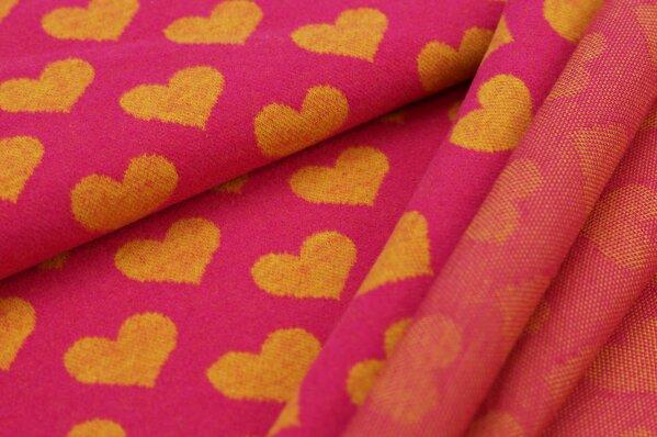 Kuschel Jacquard-Sweat Max mit Herzen senf auf amarant pink