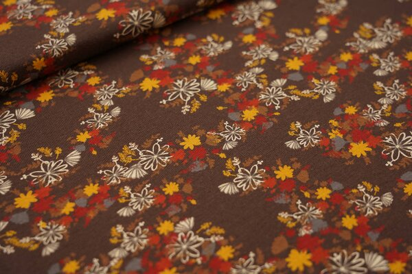 Baumwoll-Jersey mit Blumen braun / rostrot / senf / grau