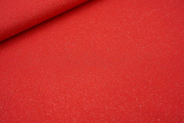 Glattes Glitzer Bündchen rot mit silbernem Glitzer