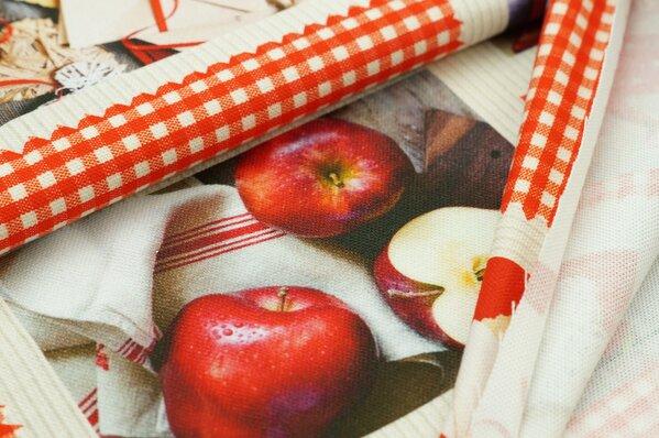 Dekostoff Digitaldruck Äpfel Apfel Kaffee rot bunt