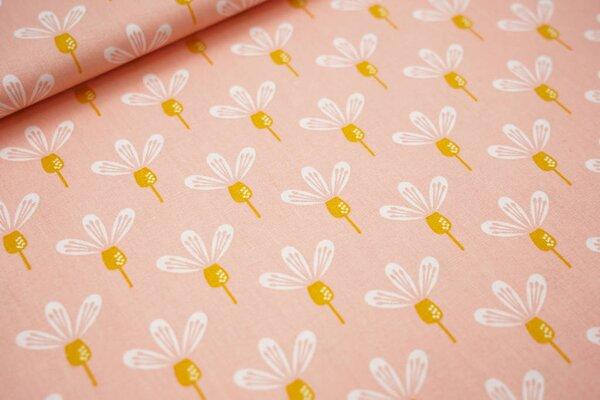 Baumwolle mit Blumen-Muster lachs / weiß / senf