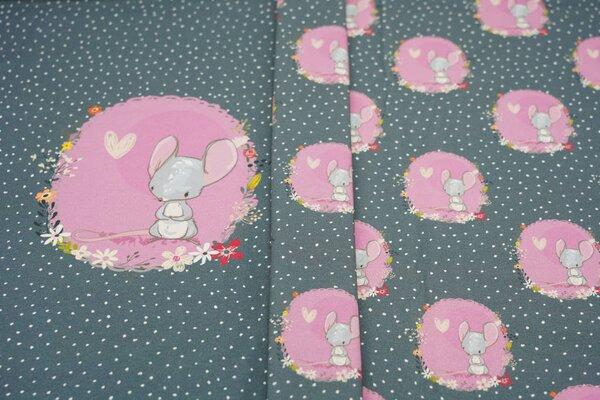 Panel Baumwoll-Jersey Mäuschen mit Punkten Maus Blumen auf dunkelgrau
